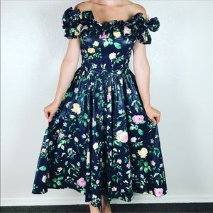 S. G. Gilbert Off Shoulder Floral Midi Dress